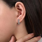 Signature Collection 14k White Gold Huggie Style Diamond Hoop Earrings by Gabriel NY