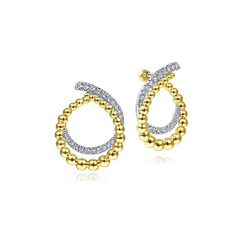 14k Yellow Gold Open Double Row Ball And Diamond Post Earrings by Gabriel NY