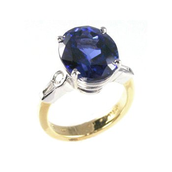 Genuine Tanzanite and Diamond Ring in Platinum and 18k Yellow Gold