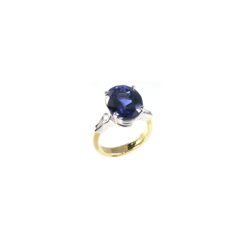 Signature Collection Genuine Tanzanite and Diamond Ring in Platinum and 18k Yellow Gold
