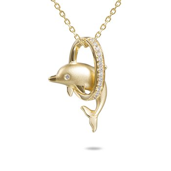 14k Yellow Gold Dolphin Loop Pendant with Diamonds