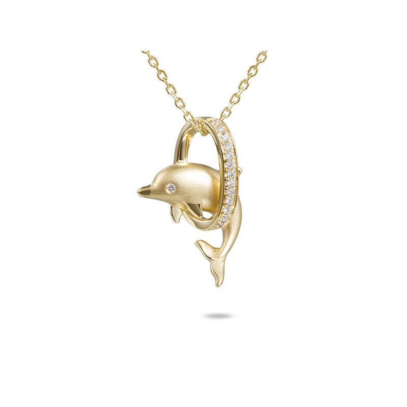 Sealife Jewelry 14k Yellow Gold Dolphin Loop Pendant with Diamonds