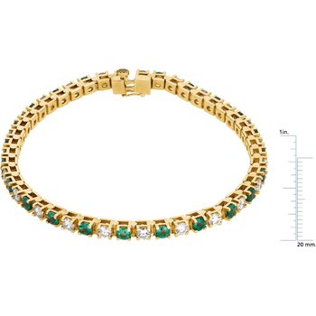 Genuine Emerald & Diamond Bracelet - EL477134