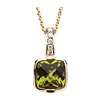 Genuine Checkerboard Peridot & Diamond Necklace