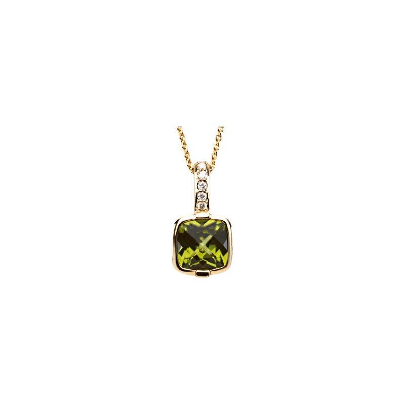 Signature Collection Genuine Checkerboard Peridot & Diamond Necklace