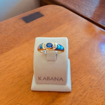 Kabana Australian Opal, Tanzanite and Diamond Ring