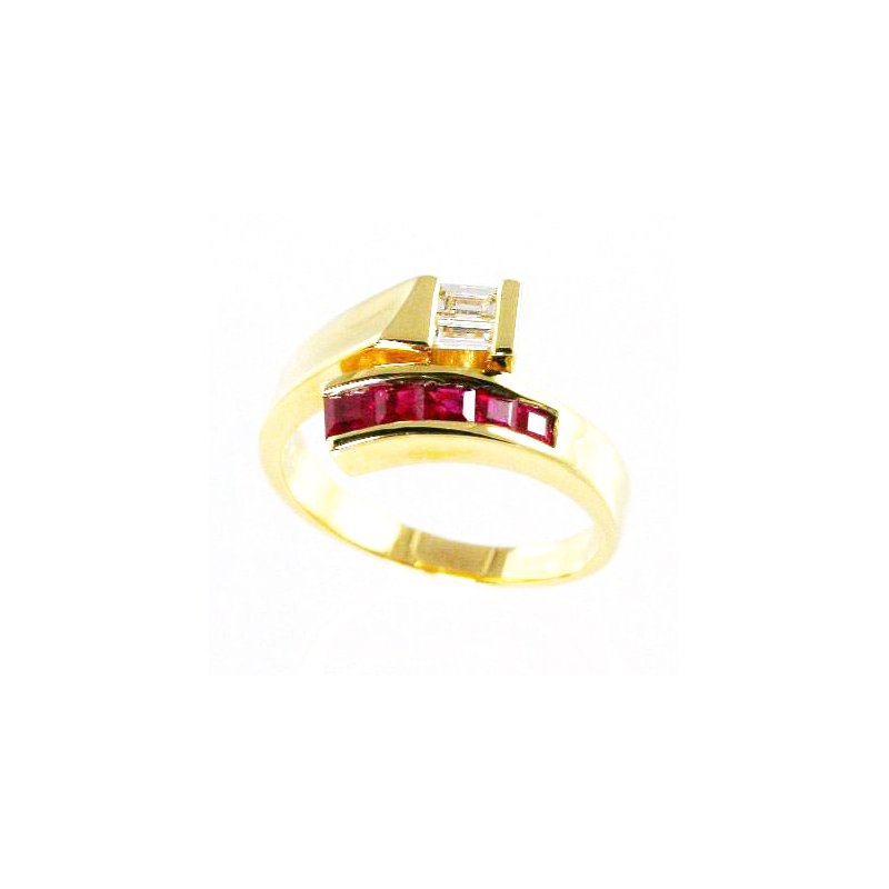 Signature Collection 18k Yellow Gold Ruby and Diamond Ring - #24328