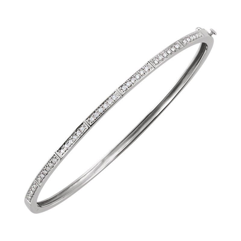 Signature Collection 14k White Gold Diamond Bangle Stack Bracelet - ELI64187SS