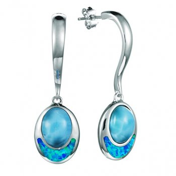 Sterling Silver Oval Dangle Earrings by Alamea with Larimar and Lab Created Opal