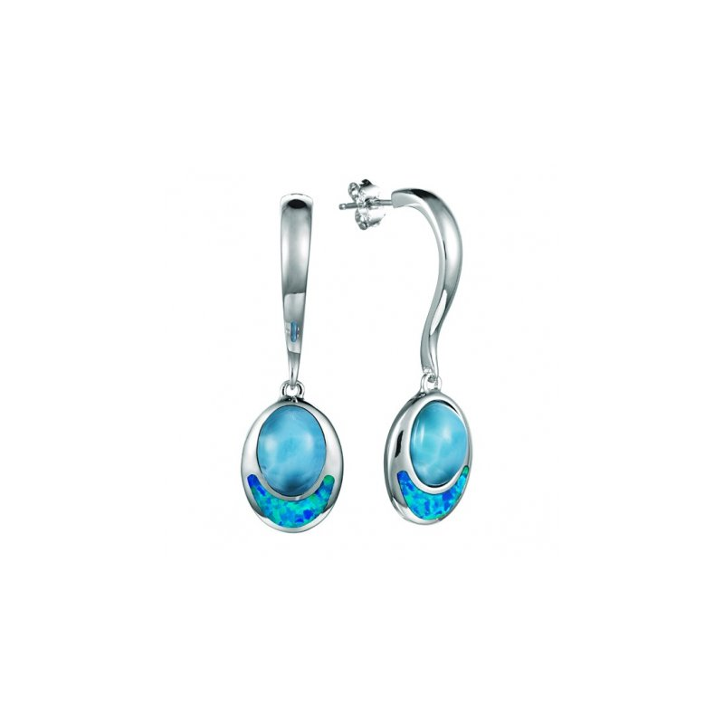 Alamea Larimar  Sterling Silver Oval Dangle Earrings by Alamea with Larimar and Lab Created Opal