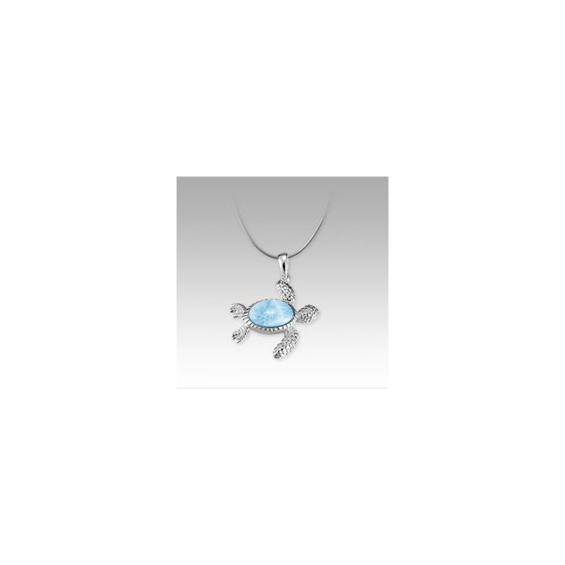 Sealife Jewelry Marahlago Larimar Turtle Necklace