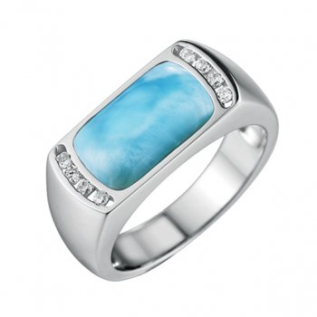 Alamea Sterling Silver Rectangle Ring with Larimar and Cubic Zirconia