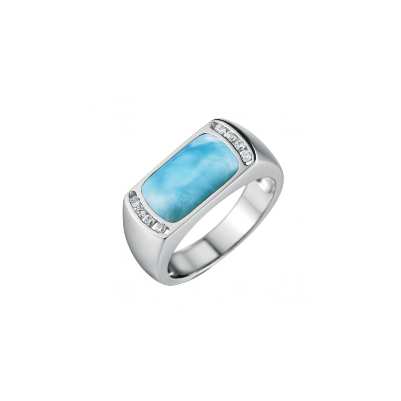 Alamea Larimar  Alamea Sterling Silver Rectangle Ring with Larimar and Cubic Zirconia
