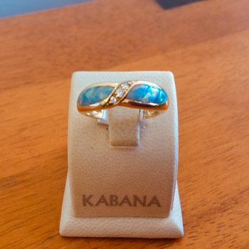 Kabana Corn Inlay Australian Opal and Diamond Ring
