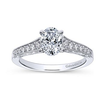 Octavia 14k White Gold Vintage Style Oval Diamond Engagement Ring by Gabriel NY