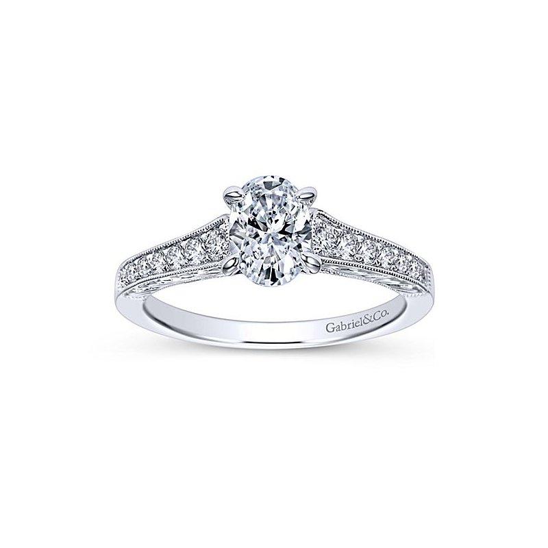 Gabriel NY Octavia 14k White Gold Vintage Style Oval Diamond Engagement Ring by Gabriel NY