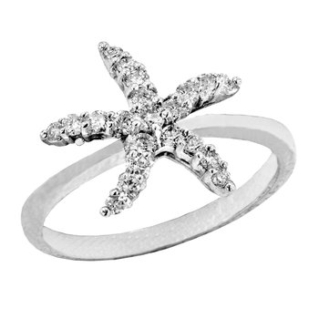 14k White Gold Diamond Starfish Ring
