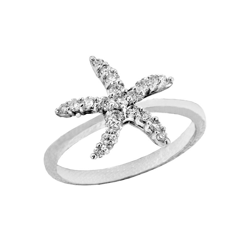 Sealife Jewelry 14k White Gold Diamond Starfish Ring