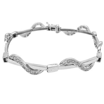 14k White Gold Swirl Diamond Tennis Bracelet - #28713