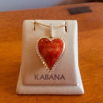14k Yellow Gold Spiny Oyster Mother of Pearl & Diamond Heart Pendant by Kabana