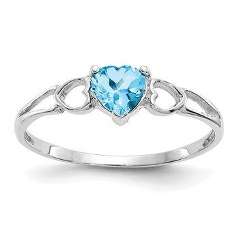 14k White Gold 5mm Heart Blue Topaz Ring