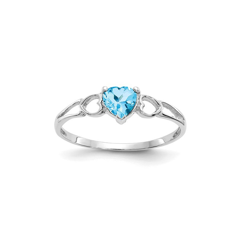 Signature Collection 14k White Gold 5mm Heart Blue Topaz Ring