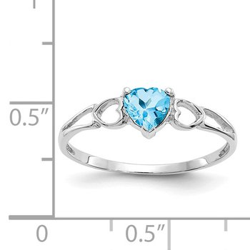 14k White Gold 5mm Heart Blue Topaz Ring