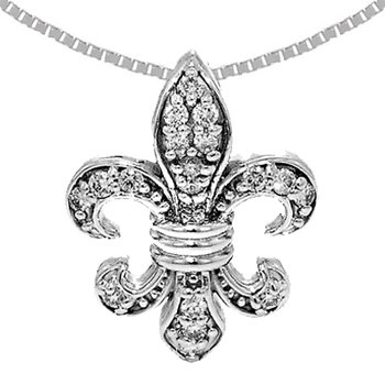 .32ct Diamond Fleur de Lis Pendant in 14k White Gold