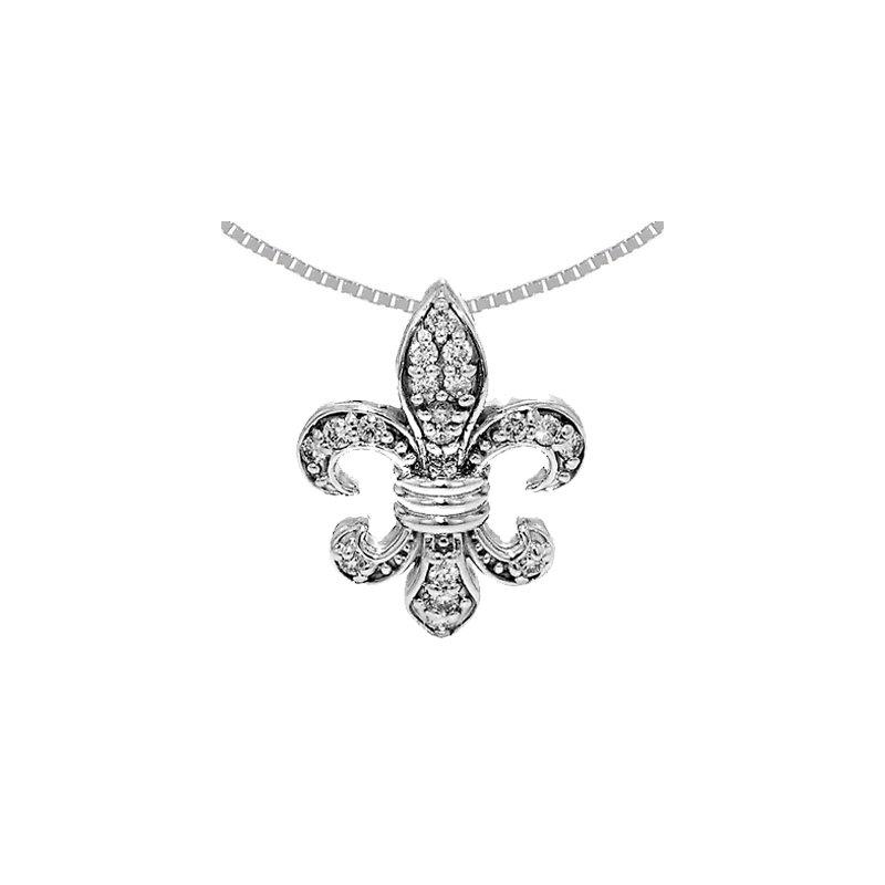 Signature Collection .32ct Diamond Fleur de Lis Pendant in 14k White Gold