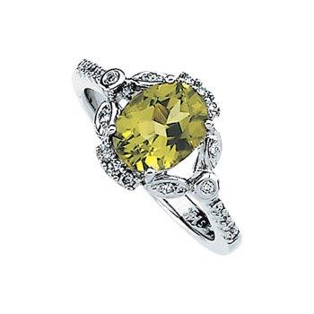 Genuine Peridot & Diamond Ring