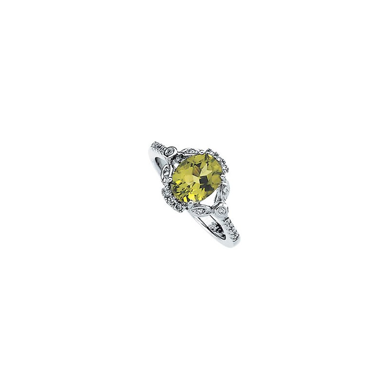 Signature Collection Genuine Peridot & Diamond Ring