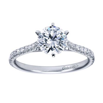 Casey 14k White Gold Straight Diamond Engagement Ring Solitaire by Gabriel NY