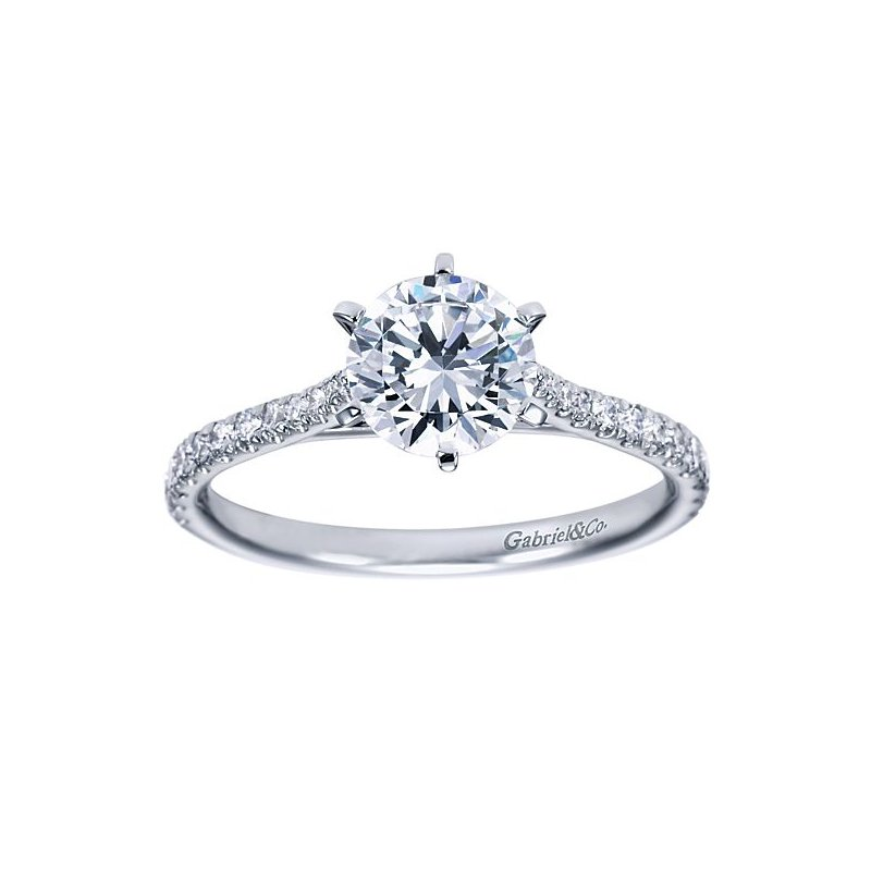 Gabriel NY Casey 14k White Gold Straight Diamond Engagement Ring Solitaire by Gabriel NY