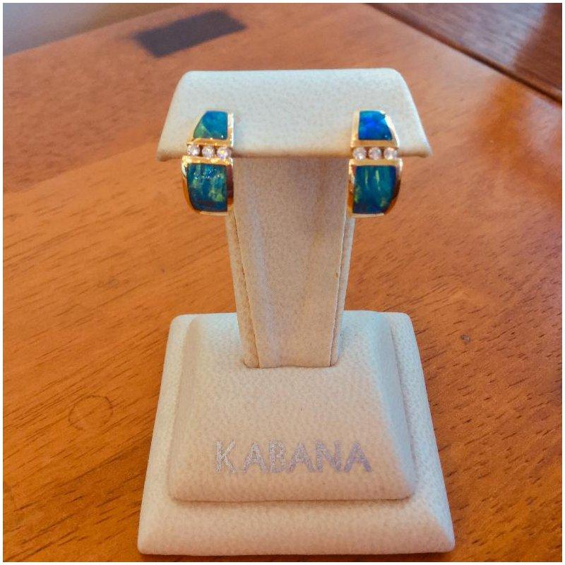 Kabana Jewelry Kabana Australian Opal Inlay & Diamond Earrings