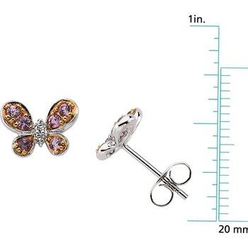 Genuine Pink Sapphire & Diamond Butterfly Earrings