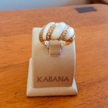 Kabana White Mother of Pearl and Diamond Ring in 14k Yellow Gold #34465