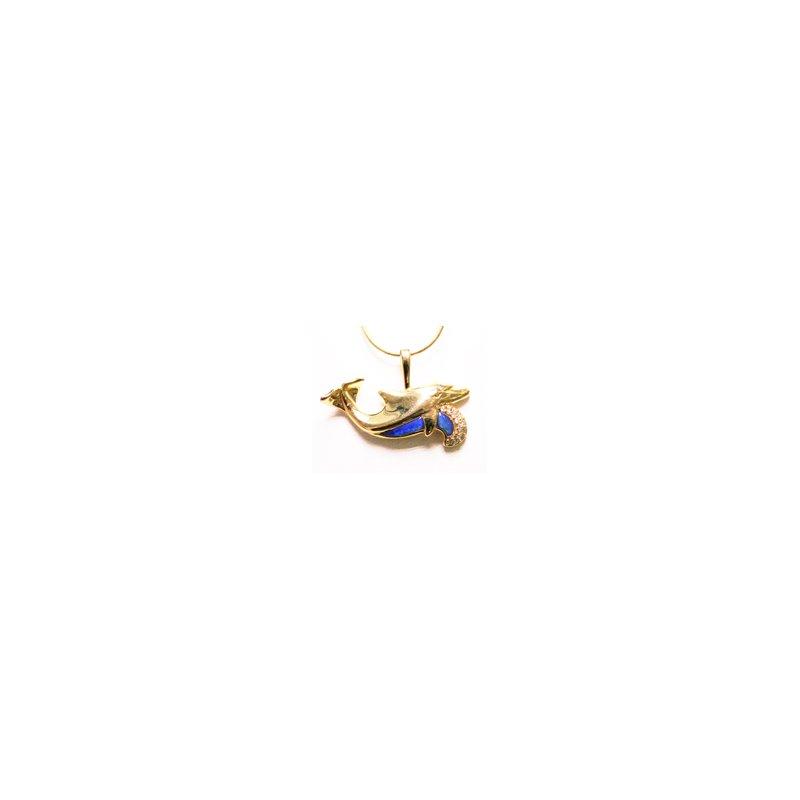 Kabana Jewelry Kabana Australian Opal Inlay & Diamond Dolphin Pendant