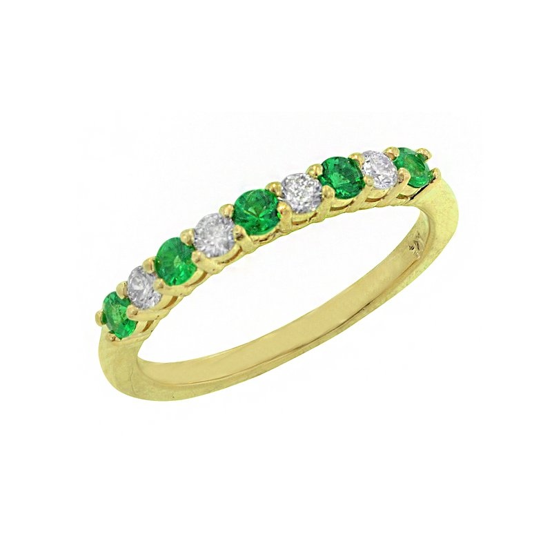 Signature Collection Genuine Emerald and Diamond Ring in 14k Yellow Gold - 1674BE