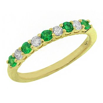 Genuine Emerald and Diamond Ring in 14k Yellow Gold - 1674BE