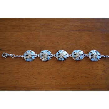 Sterling Silver and Gold Plate Sanddollar Bracelet with Mother of Pearl