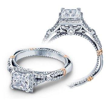 Verragio Parisian D-109P - 14k White and Rose Gold Diamond Princess Cut Halo Engagement Ring by Verragio