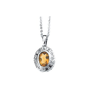 Genuine Citrine & Diamond Necklace