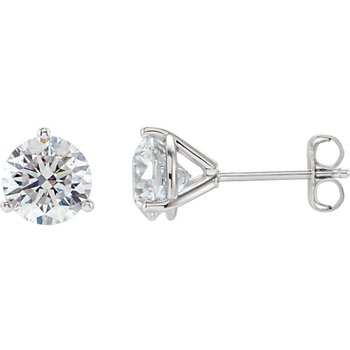 14k White Gold Martini Set 3-prong Diamond Stud Earrings - 1.42ctw