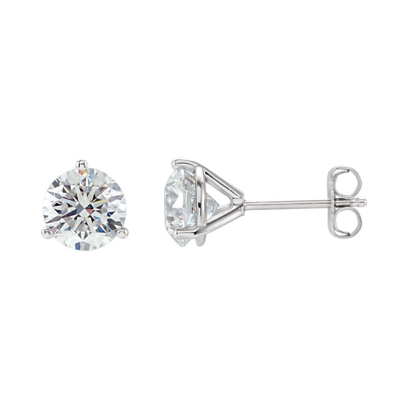 Signature Collection 14k White Gold Martini Set 3-prong Diamond Stud Earrings - 1.42ctw