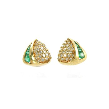 Genuine Emerald and Diamond Earrings in 14k Yellow Gold - 4541