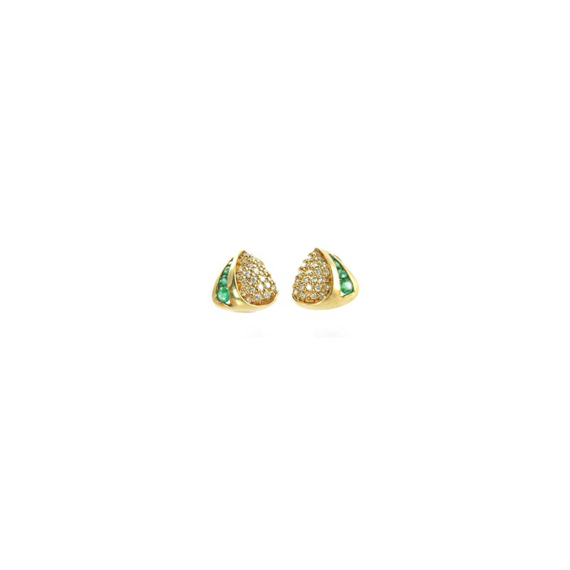 Signature Collection Genuine Emerald and Diamond Earrings in 14k Yellow Gold - 4541