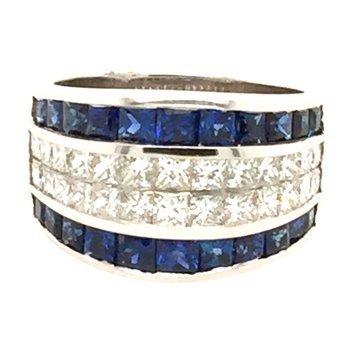 18k White Gold Invisibly Set Sapphire & Princess Cut Diamond Ring
