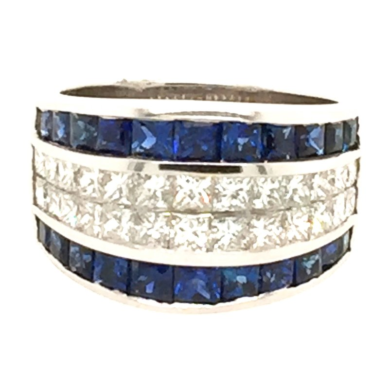 Signature Collection 18k White Gold Invisibly Set Sapphire & Princess Cut Diamond Ring