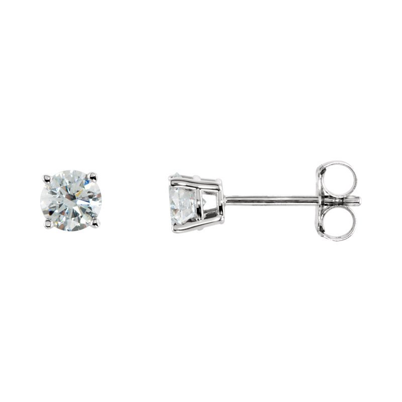 Signature Collection 14k White Gold 4-prong Diamond Stud Earrings - 0.50ctw