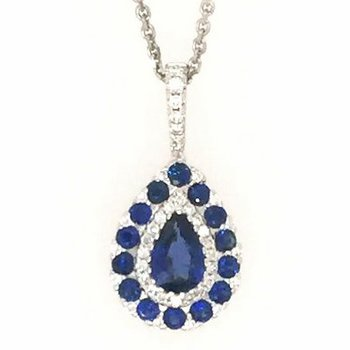 18k White Gold Pear Sapphire Pendant surrounded by Sapphires and Diamonds